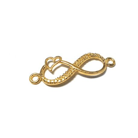 Brass Cast Infinity With Heart and 2 Rings 29x10mm