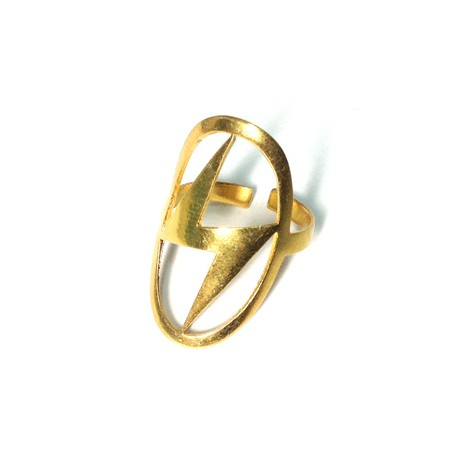 Brass Cast Finger Ring Thunder 19x16mm