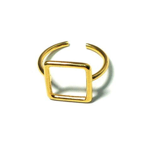 Brass Cast Finger Ring Square 18mm