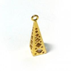 Charm in Ottone Filigrana Piramide 23x7mm