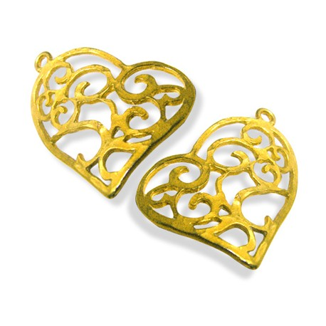 Brass Cast Hearts 23x32mm Pairs