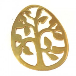 Brass Casting Pendant Easter Egg with Tree 41x57mm