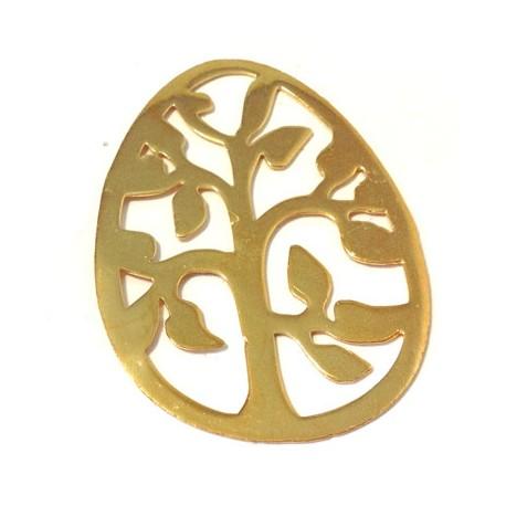 Pendentif Oeuf de Pâques avec Arbre en Métal/Laiton 41x57mm