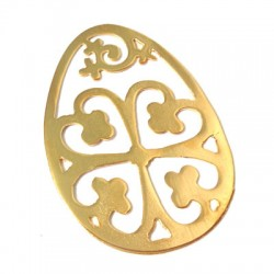 Brass Casting Pendant Oval with Flower 41x57mm