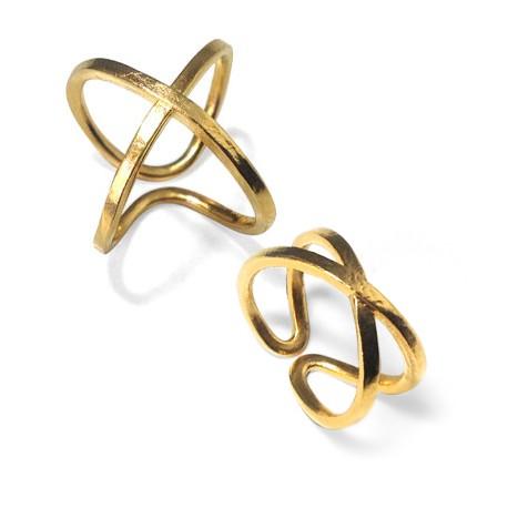 Μεταλλικό Ορειχάλκινο Μπρούτζινο Χυτό Δαχτυλίδι Διπλό 'Χ'