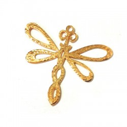 Brass Cast Pendant Dragonfly Hammered 51x46mm
