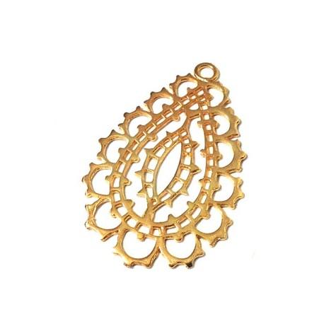 Brass Cast Pendant Filigree Drop 28x40mm