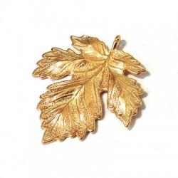 Brass Cast Pendant Leaf 32x34mm