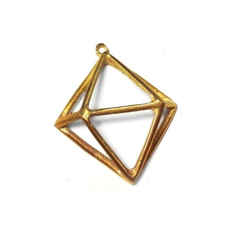 Μεταλλικό Μπρούτζινο Χυτό Μοτίφ Γεωμετρικό Διαμάντι 30x30mm