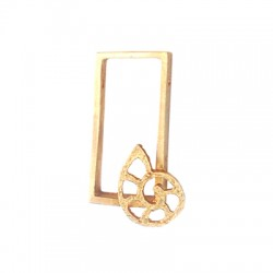 Brass Casting Pendant Frame with Shell 16x28mm (Ø 1.2mm)