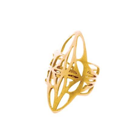 Μεταλλικό Μπρούτζινο Δαχτυλίδι Σεβαλιέ Οβάλ 25x12mm