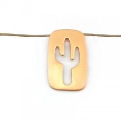 Pendentif réctangulaire avec cactus en Métal/Laiton 15x25mm