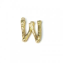"Brass Pendant Letter ""W"" 20x21mm"