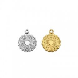 Brass Charm Round Sun 14mm (Ø2mm)