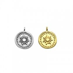 Brass Charm Round Flower Sun 15mm (Ø2mm)
