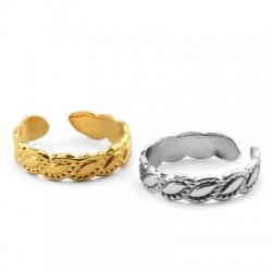 Brass Ring Leaves 19x5mm