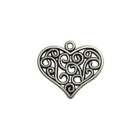 Μεταλλικό Ζάμακ Χυτό Μοτίφ Καρδιά 25x27mm