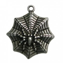 Zamak Pendant Spider on Net 34x39mm