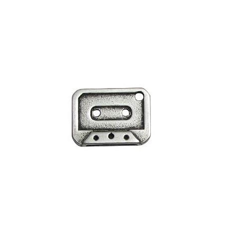 Breloque Cassette en Métal/Zamac, 15x20mm