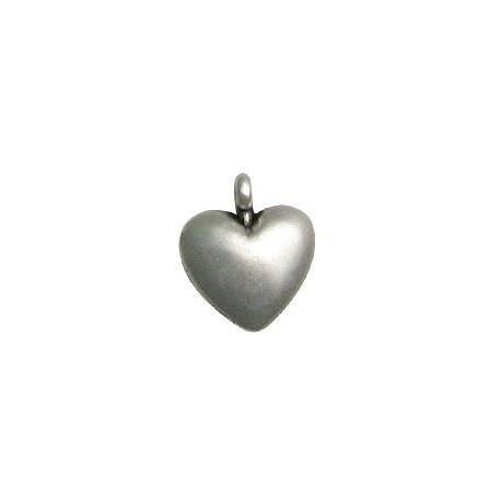 Breloque Cœur en Métal/Zamac, 13x16mm