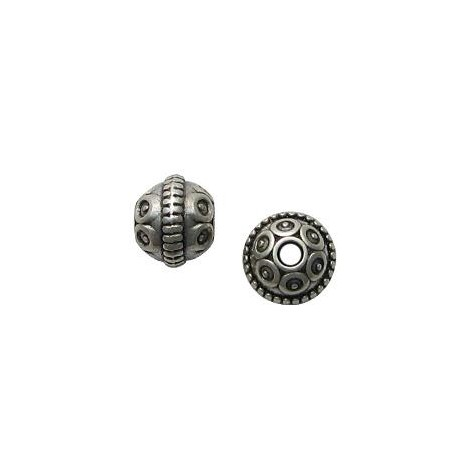 Zamak Bead Round Patterned 12x10mm (Ø 2.7mm)