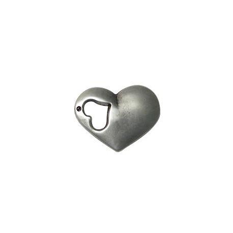 Zamak Pendant Heart Puffed 25x32mm