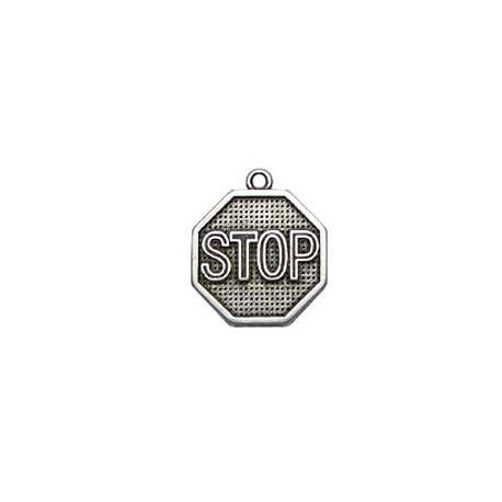 """Breloque Signal Routier """"Stop"""" en Métal/Zamak, 21x24mm"""