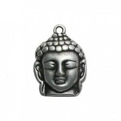 Breloque Tête de Bouddha en Métal/Zamac, 21x30mm