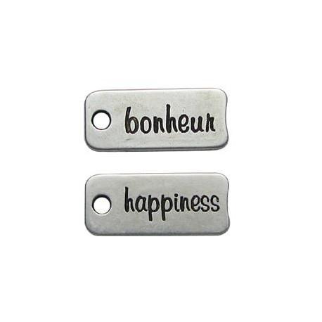Charm in Zama Targhetta con scritta BONHEUR/HAPPINESS 28x12mm