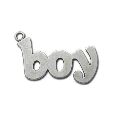 Μεταλλικό Ζάμακ Χυτό Μοτίφ Λέξη ''Αγόρι'' 27x40mm