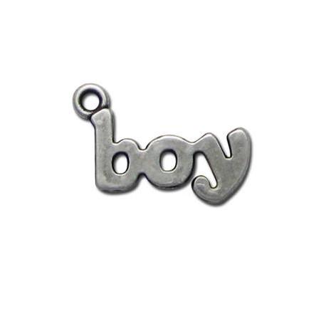 Μεταλλικό Ζάμακ Χυτό Μοτίφ Λέξη ''Αγόρι'' 14x25mm