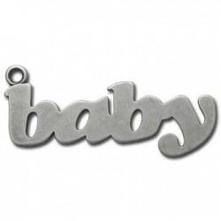 Zamak Pendant Word Baby 20x52mm
