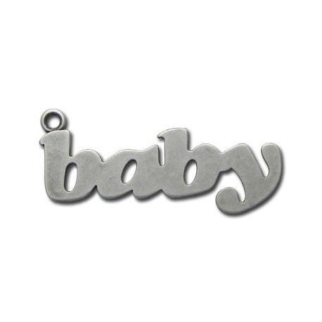 Μεταλλικό Ζάμακ Χυτό Μοτίφ Λέξη ''Μωρό'' 20x52mm