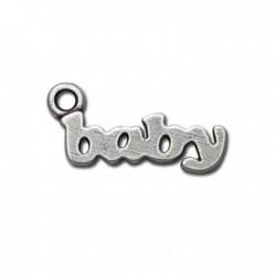 Μεταλλικό Ζάμακ Χυτό Μοτίφ Λέξη ''Μωρό'' 10x23mm