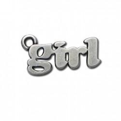 Μεταλλικό Ζάμακ Χυτό Μοτίφ Λέξη ''Κορίτσι'' 12x22mm