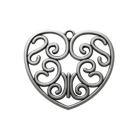 Zamak Pendant Heart Filigree 55mm