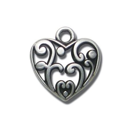 Zamak Charm Heart 18mm