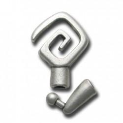 Fermoir Spirale Carrée en Métal/Zamac, 4mm