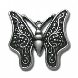 Pendentif Papillon en Métal/Zamac, 38x39mm