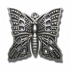 Pendentif Papillon en Métal/Zamac, 39x37mm