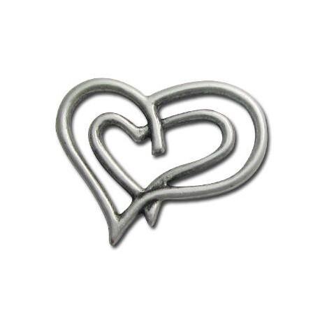 Μεταλλικό Ζάμακ Χυτό Μοτίφ Καρδιά Διπλή 42x33mm