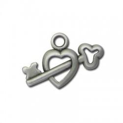 Μεταλλικό Ζάμακ Χυτό Μοτίφ Καρδιά και Κλειδί 20x12mm