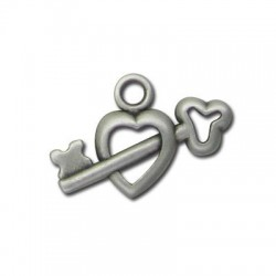 Zamak Charm Heart and Key 20x12mm