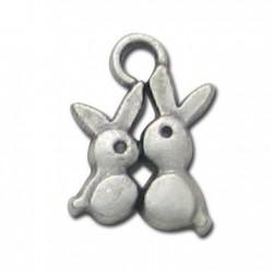 Zamak Charm Rabbits 10x12mm
