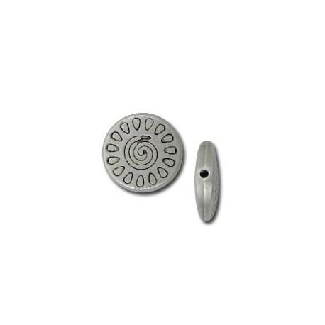 Μεταλλική Ζάμακ Χυτή Χάντρα Στρογγυλή Επίπεδη 12.8mm