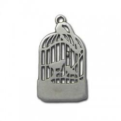 Breloque Cage pour Oiseau en Métal/Zamac, 25x15mm