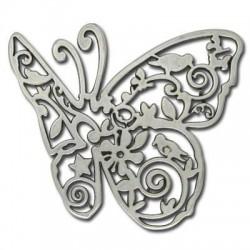 Pendentif Papillon en Métal/Zamac, 70mm