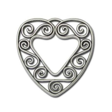 Μεταλλικό Ζάμακ Χυτό Μοτίφ Καρδιά Φιλιγκρί 40mm