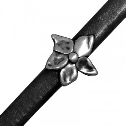 Μεταλλική Ζάμακ Χυτή Χάντρα Λουλούδι Περαστό 25mm (Ø 7x10mm) (για Δέρμα Regaliz)