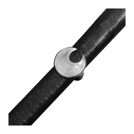 Μεταλλική Ζάμακ Χυτή Χάντρα Μισοφέγγαρο Περαστό 13mm (Ø 7x10mm) (για Δέρμα Regaliz)